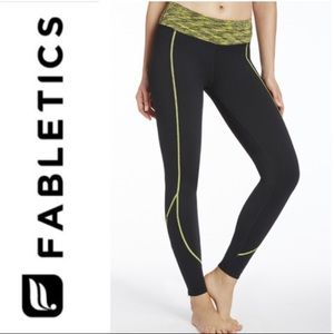Fabletics Black Neon Yellow Zipper Leggings Sz M